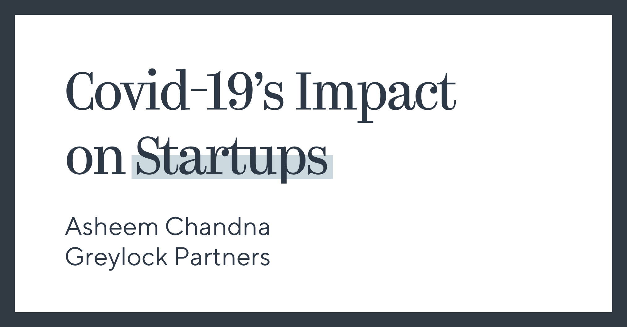 Covid-19's Impact on Startups