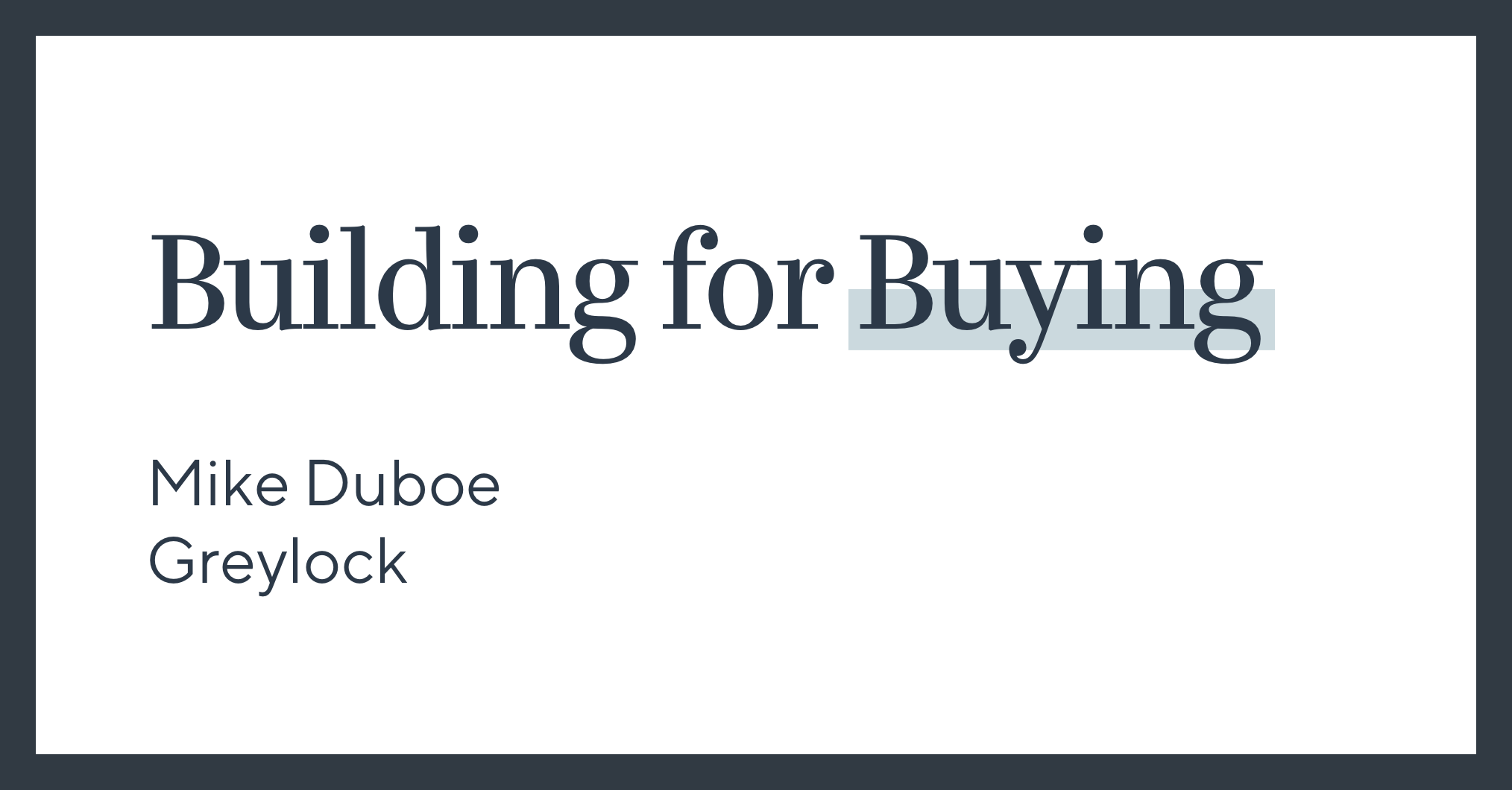 Building for Buying