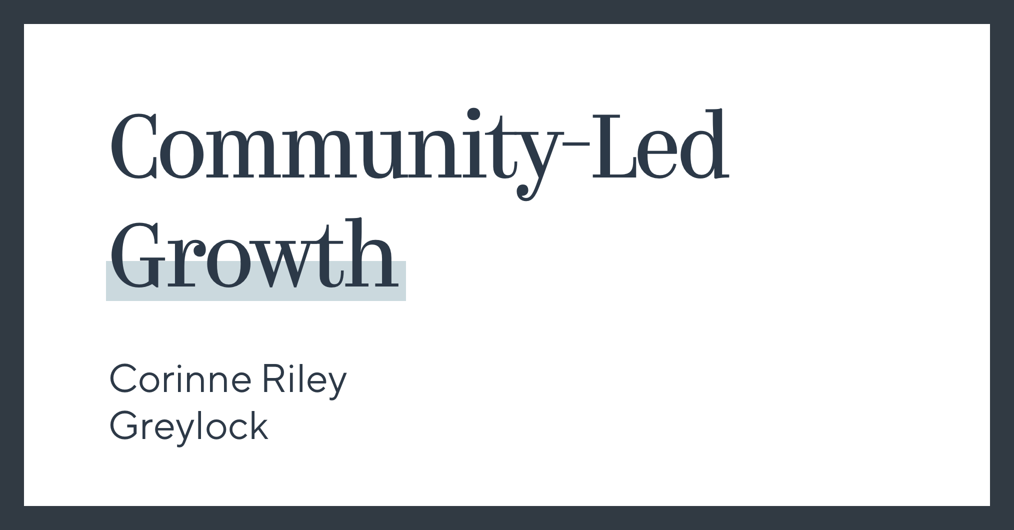Community-Led Growth