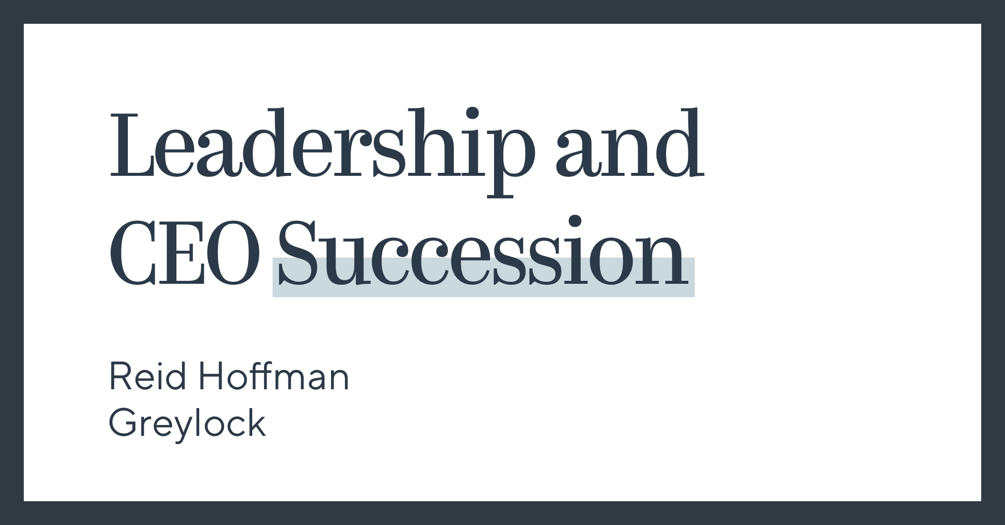 Leadership and CEO Succession