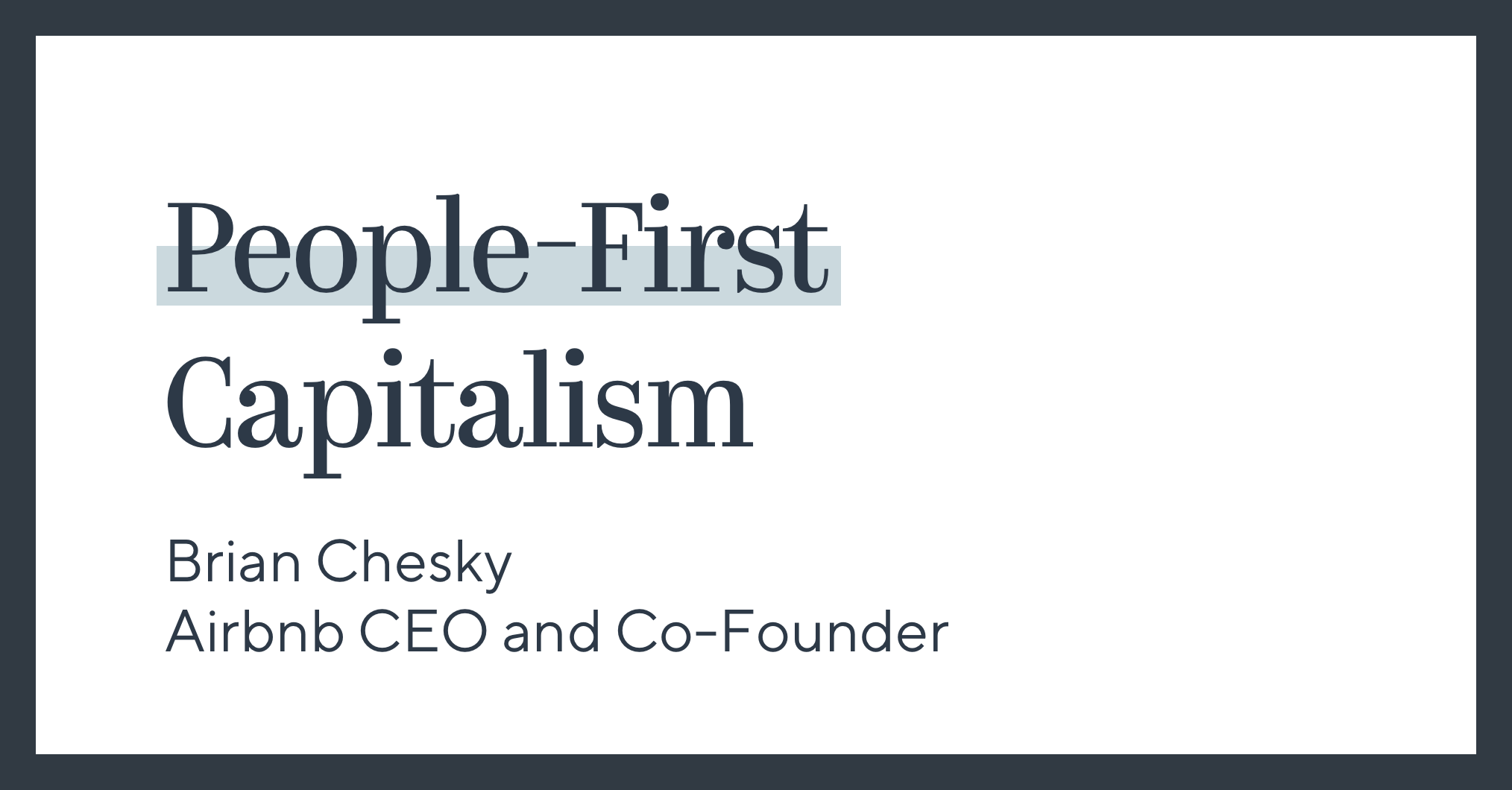 People-First Capitalism